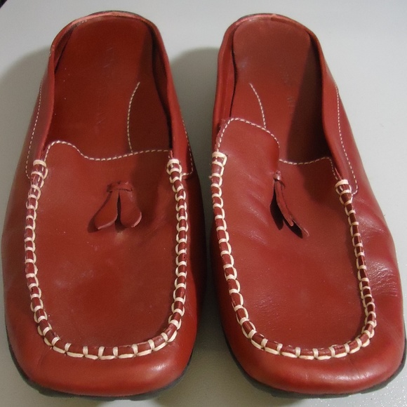 CLEARANCE 90/'s Orange Leather Loafer  Size 8.5 M